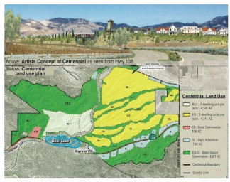 The land use plan for Tejon Ranch's Centennial project would build 19,333 homes, 5 homes per acre (in yellow area), with a limited number northeast of Quail lake at 1 home per acre. Light industrial zoning (light blue) and commercial development would be adjacent to Highway 138 southeast of Gorman. 50-70,000 new residents could come to this area under this plan. Public comments are due by May 23, 2018. Double click on image to enlarge.