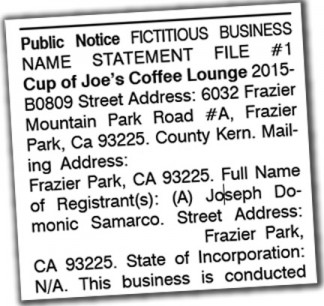Lowest cost Fictitious Business Name (DBA) publishing in Kern ...