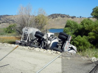The overturned big rig, photographed by Jeff Zimmerman.