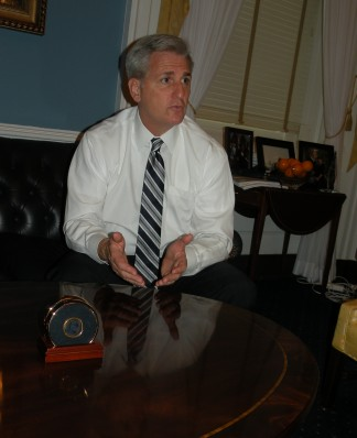 Keven McCarthy in his Washington D.C. office in 2012, when the U.S. Government was being closed down as a tactic by the Republicans during the Obama presidency. McCarthy was part of the Republican leadership quickly after his arrival in Washington.[Patric Hedlund photo]