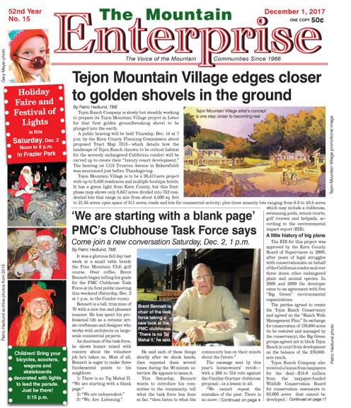The Mountain Enterprise December 1, 2017 Edition