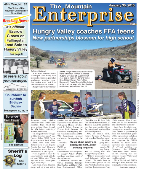 The Mountain Enterprise January 30, 2015 Edition