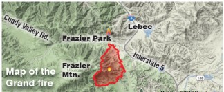 The Grand fire shown wrapping around the north, east and south sides of Frazier Mountain.