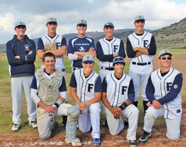 These are the seniors of the champion Falcon baseball team: (front, l-r) Andrew Penner, Stephen Downs, Kevin Enciso, Jonathan Seta; (back) Jacob Stephenson, Casey Holcomb, Josh Regan, Dorian Hammond and Robbie Stowell. The 2013 Frazier Mountain High School team have made history as the first Falcons to win the top High Desert League trophy for baseball. [Michelle Penner photo]