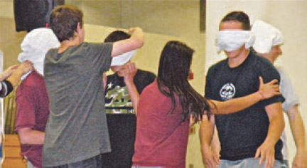 Sophomores played the blindfold game.