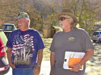Eli Meigs and Stan McCuen are neighbors in Lockwood Valley Ranchos to the LARC facility. They are shown here debriefing after their meeting with TriCounty Watchdog members. They are seeking assistance in challenging the 'negative declaration