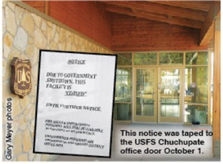 This notice was taped to the USFS Chuchupate office door October 1. [photos by Gary Meyer]