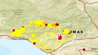 This is the Thomas fire 'hot spot' map on Monday, Dec. 18, 2017. If wind conditions stay good, defensive backfire operations will take place today in the Los Padres National Forest in the rugged terrain south of Lockwood Valley.