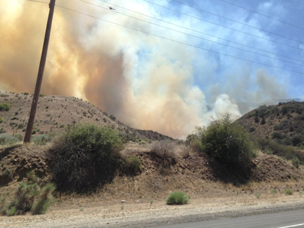 Scott Parsons grabbed this shot from the roadside near the fire on Frazier Mountain Park Road.