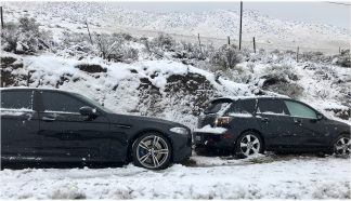 Bumper to bumper traffic in both directions occurred on frontage roads as well as the Grapevine as drivers were directed by GPS navigation services to alternate routes, trapping many in snow, leaving them stuck like those on the I-5. [Jeff Zimmerman photo]