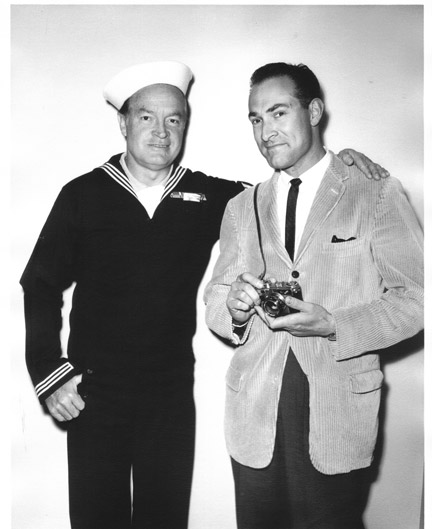 Photo of Bob Hope and Gerald Smith on the USO tour, part of gallery and talk at the Frazier Park Library, Saturday, Dec. 7, 10-noon. [Gerald Smith photo]