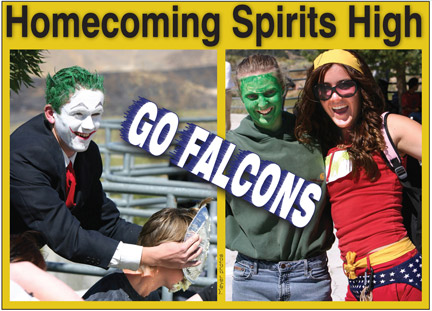 Snapshot from homecoming week in a past year when the theme of the day appears to have been comic book heroes and villains. [photo by Gary Meyer]