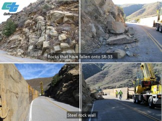 Cleanup operations underway on Highway 33 between Ojai and Lockwood Valley Road. [Caltrans photo]