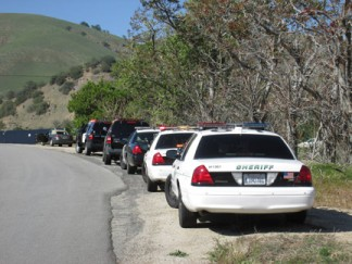 Kern County sheriff's units and CHP assisted a Los Angeles County Sheriff's deputy as two auto theft suspects were taken into custody on Monday, along Lebec Road. [photo by Gary Meyer]