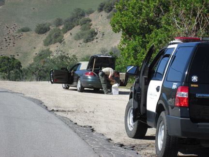 A Los Angeles County Sheriff's deputy searches the trunk of a stolen vehicle on Lebec Road while the suspects are in custody in the back of a patrol vehicle. [photo by Gary Meyer]