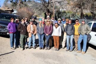 Among the volunteers from Patagonia, Inc. (Ventura) and Los Padres ForestWatch (Ojai) were Mountain Community residents Tyler Geike of Piñon Pines, Tommy Hastings of Lake of the Woods, Jeff and Tammy Zimmerman of Neenach, John Burnham of Frazier Park and Kim Coakley of the Pine Mountain community. [photo by Jeff Zimmerman]