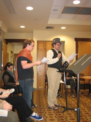 In Sophocles' Antigone (l-r) Solomon Bogdanoff read Haimon and Eric Rand read Kreon. [photo by Katherine King]