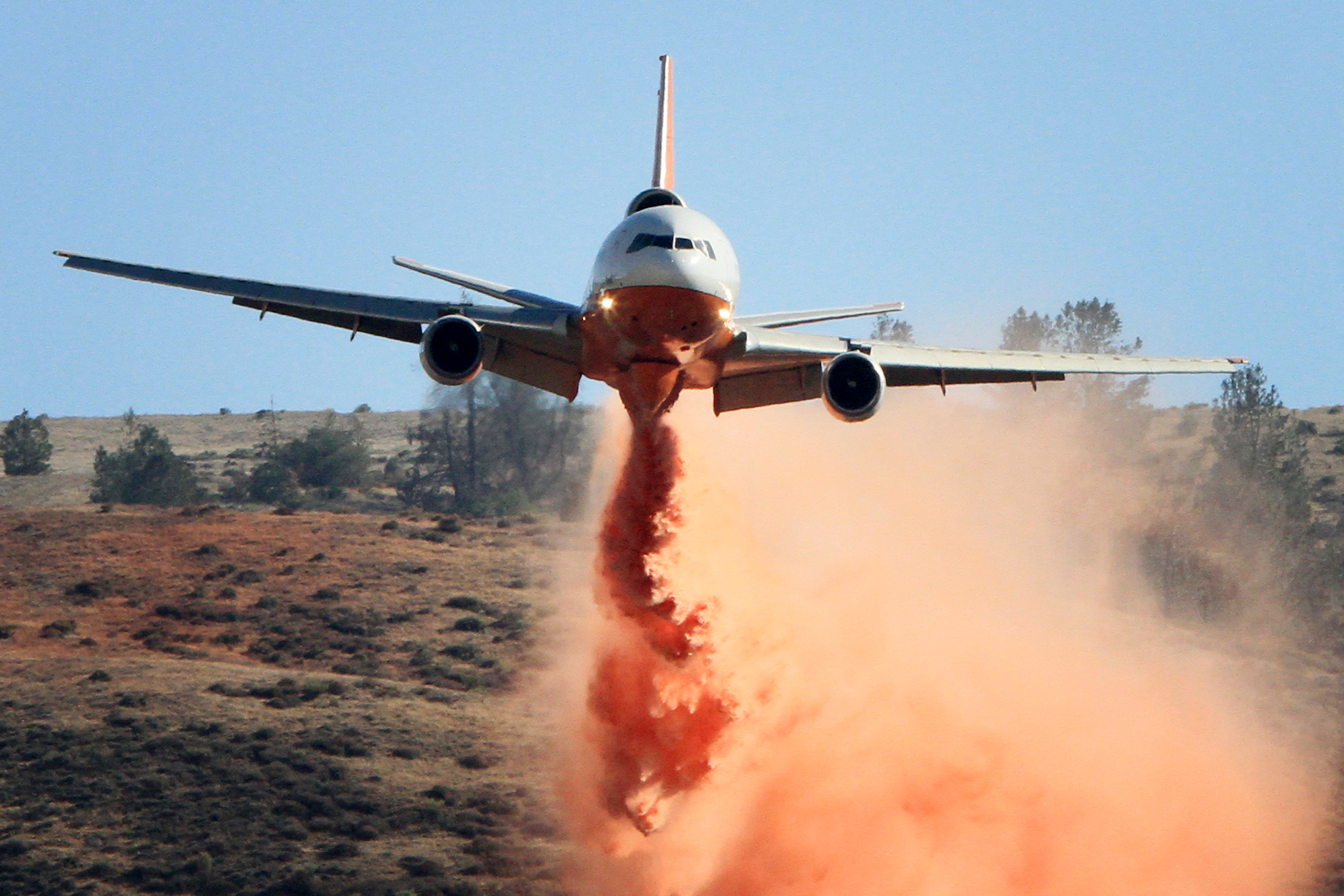 Jeff Zimmerman sent this image of an air tanker working to contain the Powerhouse fire in the Western Antelope Valley, Sunday, June 2.