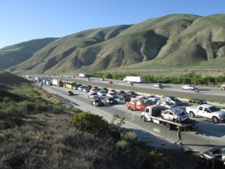 Traffic backed up for miles to the north into Lebec. [photo by Gary Meyer]