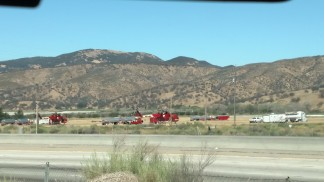 Chandra Mead of Lebec snapped a photo of a staging area on Tejon Ranch land near Kern County Fire Station 56. Large Sekorski Skycrane helicopters are staged here. They carry loads of fire suppressant, water drops, equipment and supplies into the Sespe Wilderness Area for firefighters working on the Pine fire.