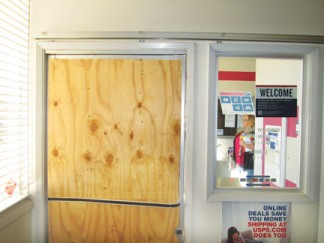 Burglars broke through the lobby door at Lebec Post Office between Saturday and Sunday, Jan. 3-4. [photo by Gary Meyer]