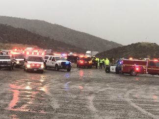 Interstate 5 accident near Vista del Lago involving first responders, fatality and critical injuries at about 8:40 a.m. [Jeff Zimmerman photo]