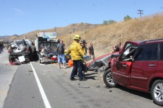 Fatal accident, nine injured, two critically, on Sunday, Aug. 31, 2014 near Lake Hughes Road on northbound Interstate 5. [Photo by Jeff Zimmerman]