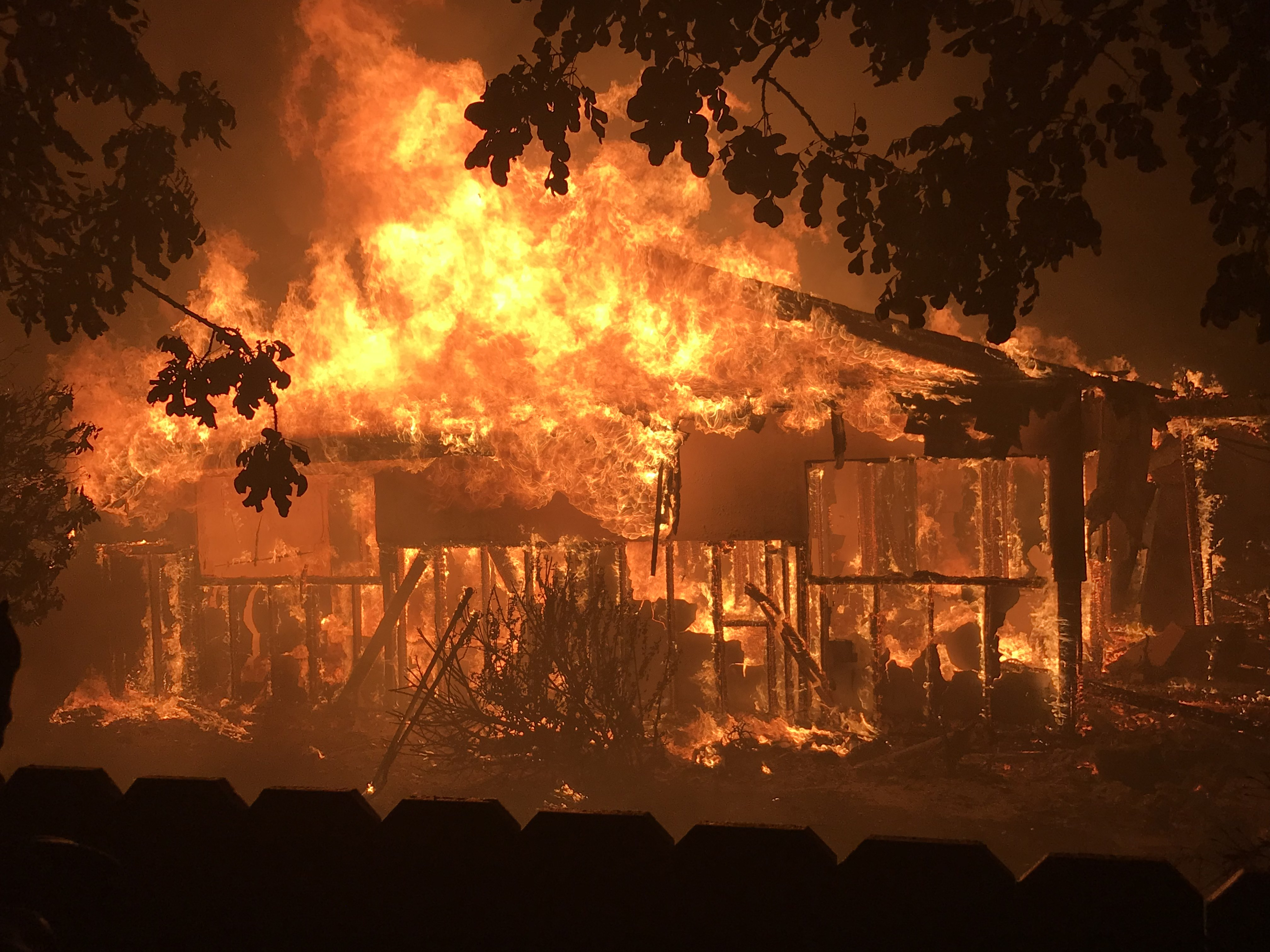 Fires are burning in Goleta, San Diego and San Bernardino in Southern California. Jeff Zimmerman of Neenach sent this image of a Goleta home ablaze, along with at least 20 others, at midnight , July 6.