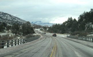 The roadway was clear and icy Monday morning, Feb. 1 coming into Frazier Park after 8 a.m. [photo by Gary Meyer, The Mountain Enterprise]