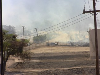 The point along Lebec Oaks Road where the fire nearly jumped to the south, but stopped. [photo by Gary Meyer]