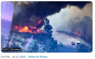 John Shreiber posted this photo to Twitter of the Ridge Fire south of Gorman, that started at State Route 138 and Ridge Route Road. A tanker and helicopters have dropped suppresant.