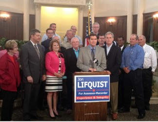 Jon Lifquist encircled by politicians providing endorsements in his run for County Assessor, including Assemblywoman Shannon Grove and U.S. Congressman Kevin McCarthy. Current Assessor James Fitch also endorsed him—on his public office letterhead. Paul Stine provided a stack of emails and call records to show John Lifquist, who works in the Kern County Assessor's Office, has been using public resources to conduct his campaign for Assessor-Recorder.