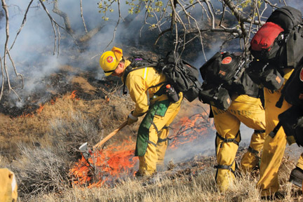 Firefighters working on the Ridge Route fire came upon human remains Saturday. [photo by Jeff Zimmerman]