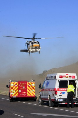 Helicopter responding to car crash on Highway 138 near Quail Lake. Two were injured. Photos by Jeff Zimmerman.