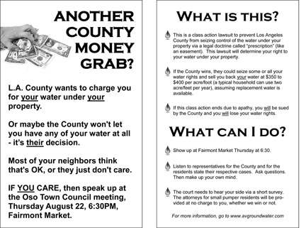 This flyer, produced by Oso Town Council, was distributed throughout Western Antelope Valley.