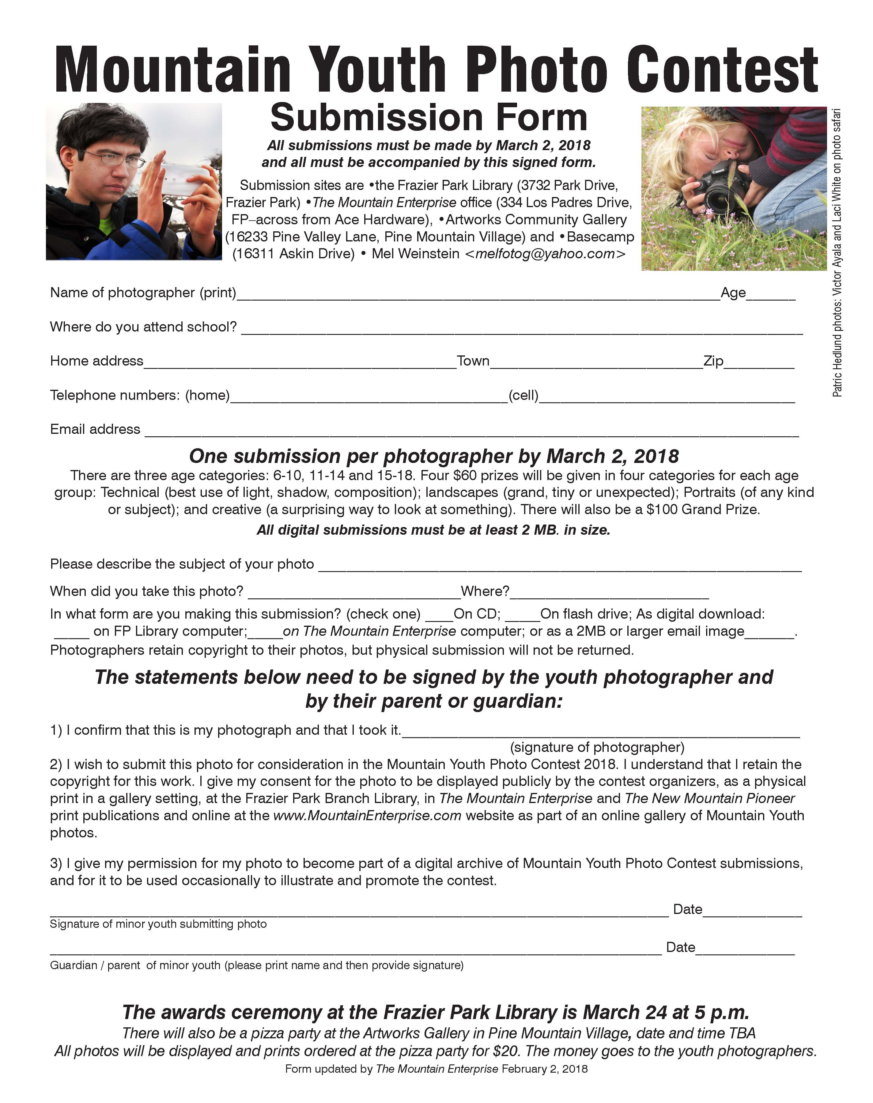 This is the submission form for the Mountain Youth Photo Contest. Your photo must be submitted with the completed form. Double click for a full size display which you can print out. Deadline for submissions is by March 2, 2018. Good luck!