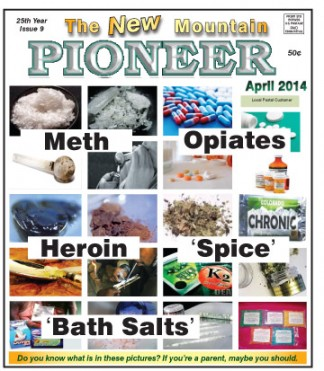 [Click to enlarge] April cover of The New Mountain Pioneer with the drugs named.