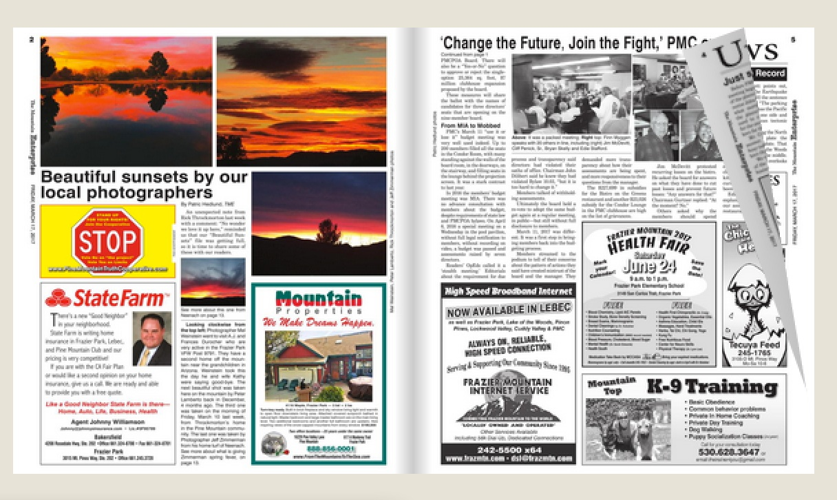 This is a sample of the eEdition of The Mountain Enterprise that is accessed by subscribers by clicking into the menu (see above). Subscribers can also access the wonderful TME Archive (Click 'archive' above).