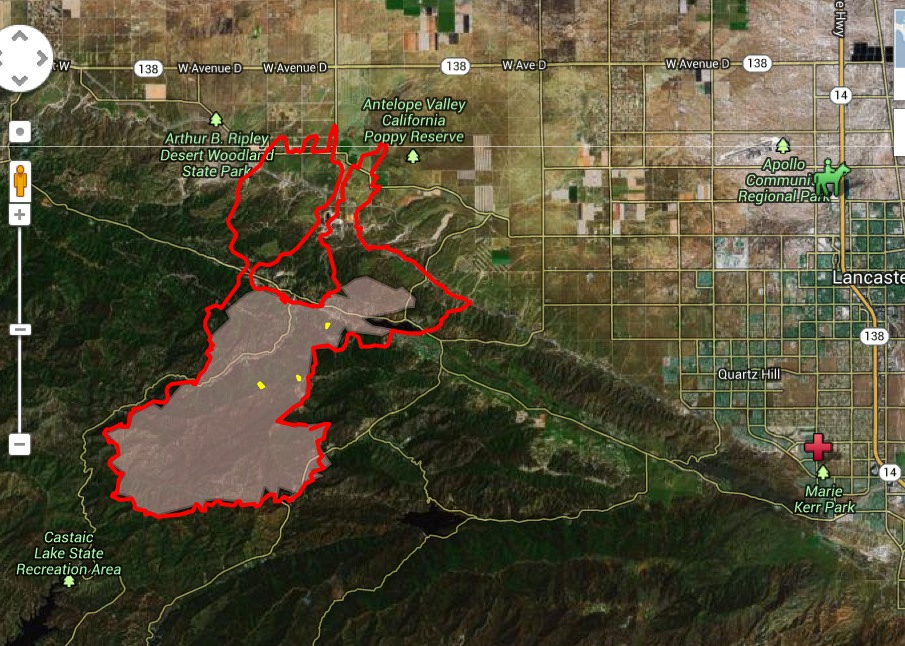 This is a map of how far the Powerhouse fire had spread by Monday, June 3, 2013. [Google map image]
