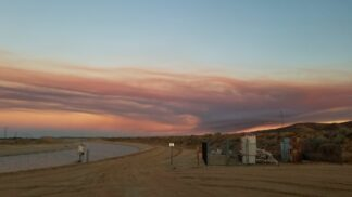At 7:52 p.m. in the Neenach area, smoke from the