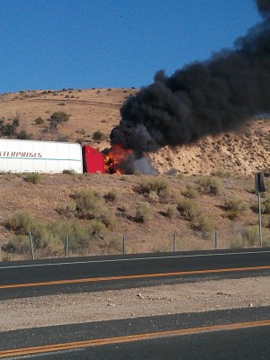 Sabrina Rouser took this photo while the big rig truck near the Frazier Park Road ramp to Interstate 5 was still burning.
