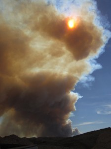 Tommy Hastings caught the plume covering the sun from Tejon Ranch.