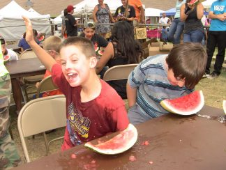 Watermelon Eating Contests are always a hit. The famous Eating Contests are noon to 2 p.m. Saturday, with log sawing, horseshoes and arm wrestling  on Sunday, along with worship,  pancakes  and lots of music.