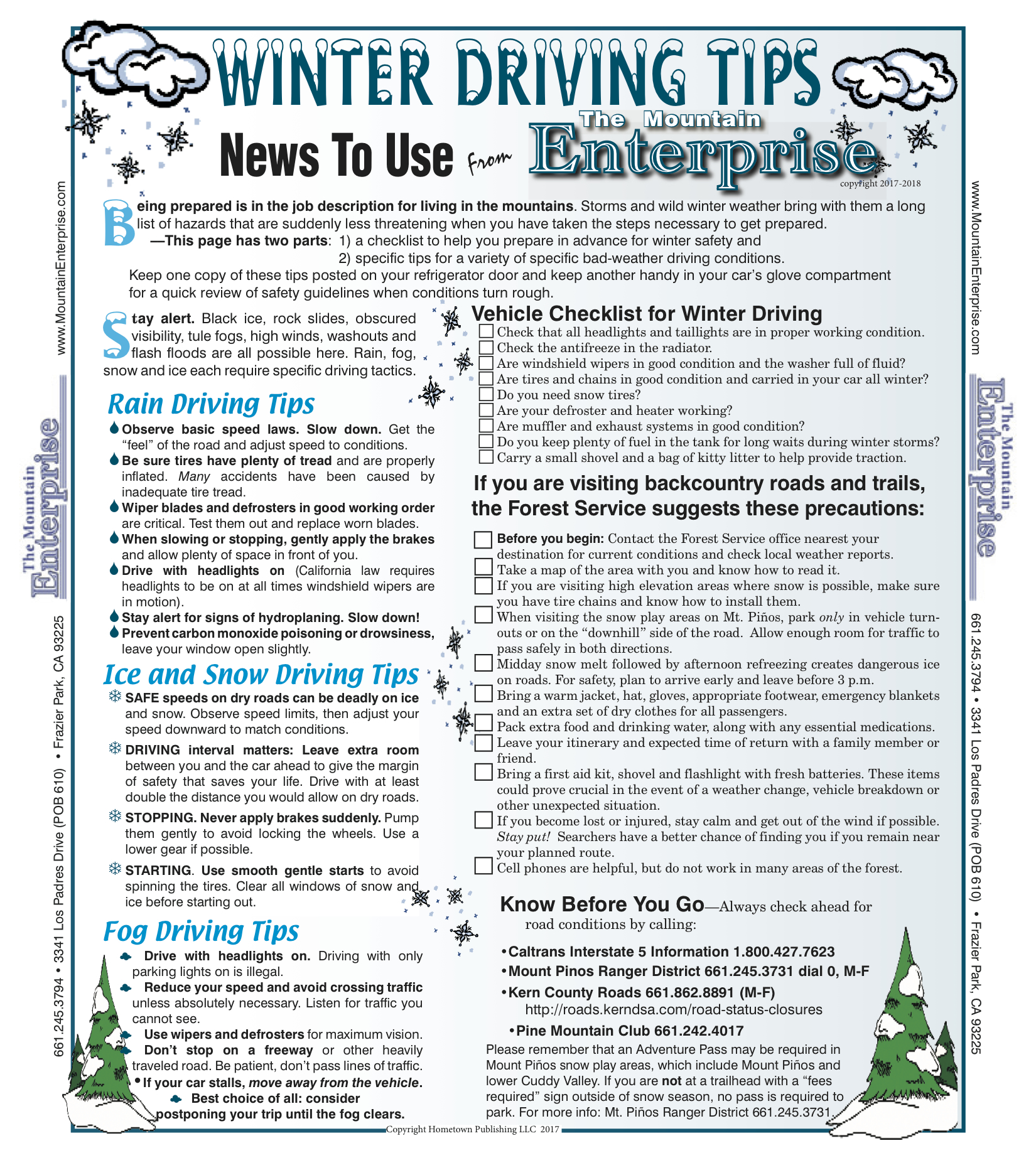 Double click on the image for a full-size printable version of Winter Driving Tips.