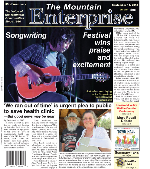 The Mountain Enterprise September 14, 2018 Edition