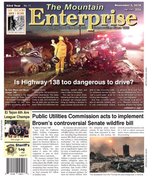 The Mountain Enterprise November 2, 2018 Edition