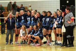Falcon volleyball team [photo by Cliff Coleman]